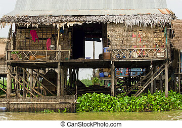 Rural Fishermen Houses in Cambodia - Traditional fishermen...