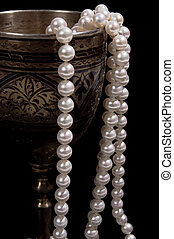 Pearl beads with silver wineglass