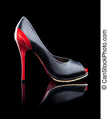 High Heels Shoes - Black and red female high heels shoes on...