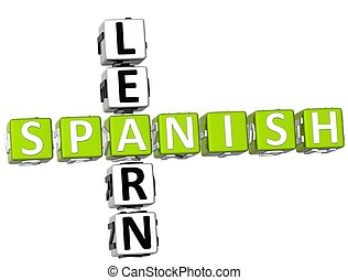 Learn Spanish Crossword - 3D Learn Spanish Crossword on...