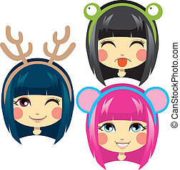 Sweet Animal Headbands - Three sweet girl heads wearing cute...