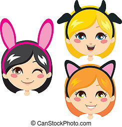 Sweet Animal Headbands - Three sweet girl heads wearing...