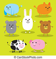 Cute Ellipse Animals - Collection of seven cute farm and pet...