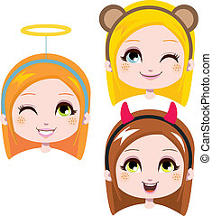 Cute Headbands - Three sweet girl heads wearing cute costume...