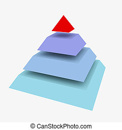 Abstract pyramid - Conceptual 4 layers hierarchy pyramid 3D...