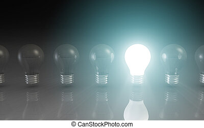 Creativity Concept with Light Bulb Glowing in 3d