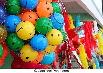 colorido, Smiley, pelotas, fiesta, piñata
