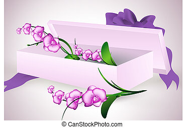 orchid flowers bouquet in gift box with purple ribbon bow