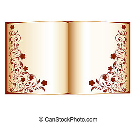 vector illustration of an open book with floral decoration