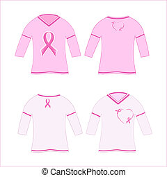 Vector Illustration of the t-shirts with pink ribbon