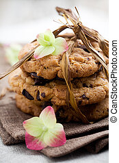 Chocolate chip cookies - Pile of delicious chocolate chip...