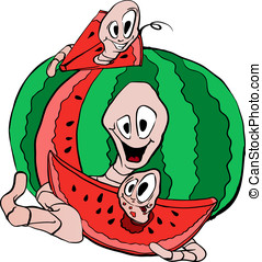 worms and water-melon - Drawing of cheerful worms eating a...
