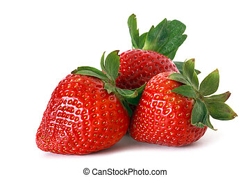 red strawberries - fresh strawberries on white background