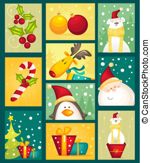 Collection of Christmas cards, illustration