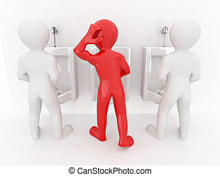 Men with urinal ob white isolated background. 3d