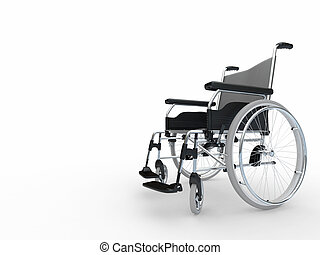 Wheelchair. 3d - Empty wheelchair on white isolated...