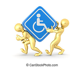 Two men with sign wheelchair