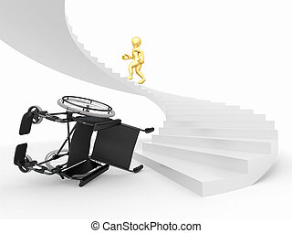 Men with wheelchair and stairs Difficult decision 3d