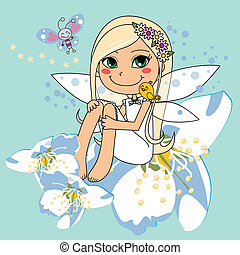 Sweet white pear blossom fairy - Sweet fairy on top of a...