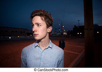 Young Man Outside at Night