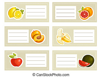 Back to school stickers with fruits, illustration