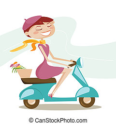 Scooter girl,  illustration
