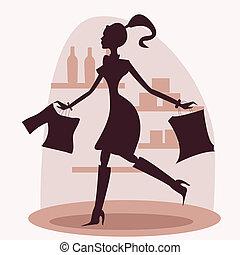 Shopping women silhouette, illustration