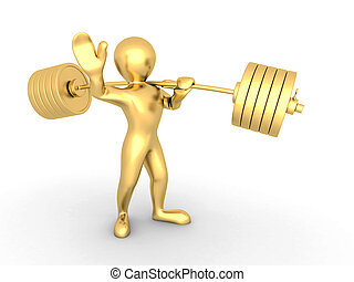 Men with barbell on white isolated background 3d