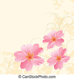 Primroses. - Vector pink primroses on a yellow background.