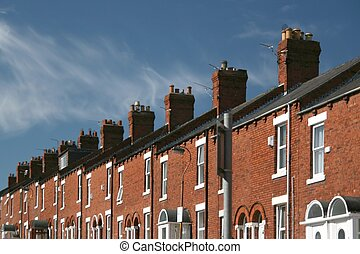 Terraced houses - A row of terraced houses with beautiful...
