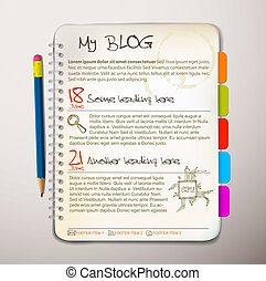 Blog web site template - Open notepad with colorful...
