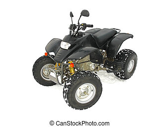 ATV Black All Terrain Vehicle on white snow background