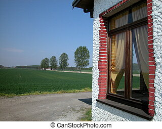 Farm's window in countryside - Landscape of countryside with...