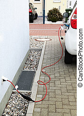 Electric vehicle - Detail of electric car charging battery...