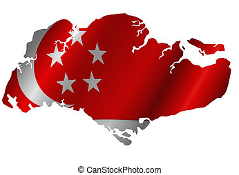 Republic of Singapore Map with Flag Silhouette - Republic of...