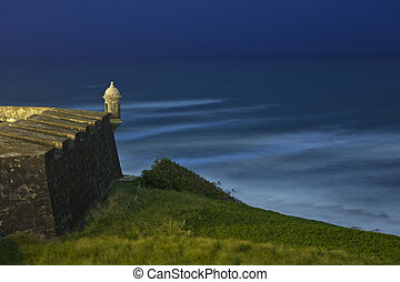 el morro - El Morro fort at night in old san Juan Puerto...