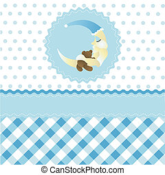 seamless baby boy pattern, blue cartoon moon wallpaper