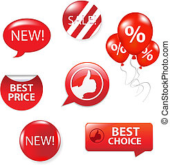 Set Of Red Sale Elements