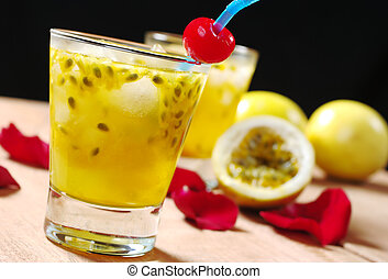 Passion-fruit Juice - Passion-fruit juice with a drinking...