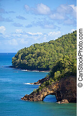 land bridge, st lucia - land bridge over ocean on st lucia,...