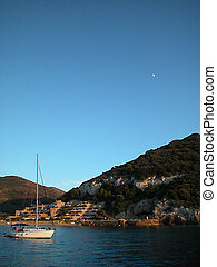 Giglio island at dusk - Landscape of Giglio island view from...