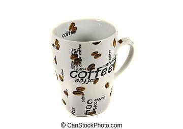"""Coffee cup - Empty coffee cup with image and text """"coffee""""."""