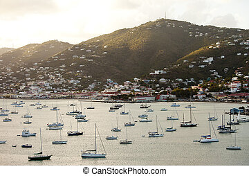 charlotte amalie, usvi - charlotte amalie and harbor at...