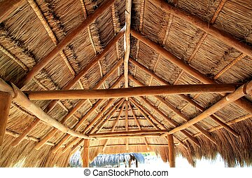 Caribbean wooden sun roof Palapa in mexico