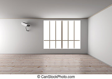 Surveillance in the Living room. 3D rendered Illustration.