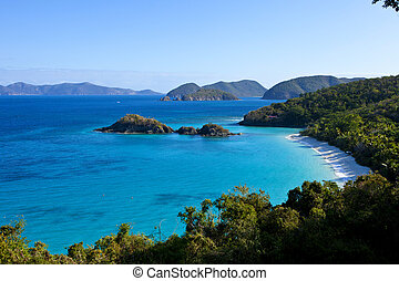 Trunk Bay, US Virgin Islands - Vista View of Trunk Bay, Us...