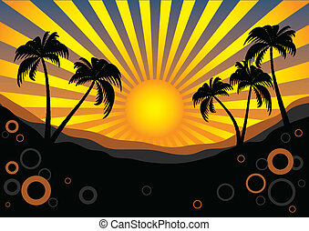 Tropical background with the sun and palm trees