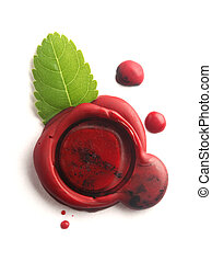 Red wax seal with green leaf isolated on white