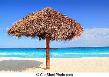 Palapa, sol, techo, playa, paraguas, Caribe