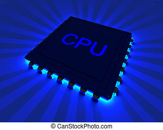 CPU - 3D rendered Illustration. A glowing CPU component.